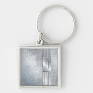 Scratched Metal Stripes Monogram Blue ID443 Keychain