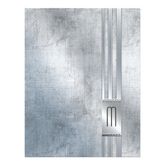 Scratched Metal Stripes Monogram Blue ID443 Letterhead
