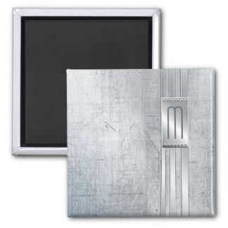 Scratched Metal Stripes Monogram Blue ID443 Magnet