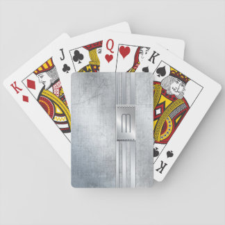 Scratched Metal Stripes Monogram Blue ID443 Playing Cards