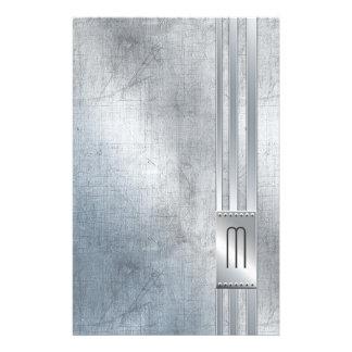 Scratched Metal Stripes Monogram Blue ID443 Stationery