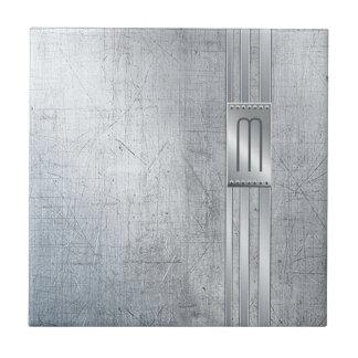Scratched Metal Stripes Monogram Blue ID443 Tile