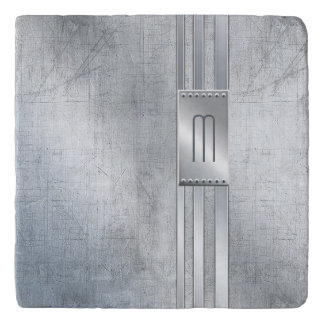Scratched Metal Stripes Monogram Blue ID443 Trivet