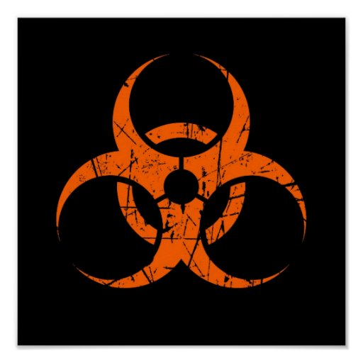 Scratched Orange Biohazard Symbol on Black Print