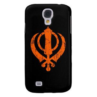 Scratched Orange Sikh Khanda Symbol on Black