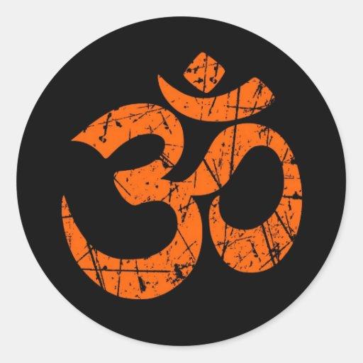 Scratched Orange Yoga Om Symbol on Black Stickers