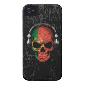 Scratched Portuguese Dj Skull with Headphones iPhone 4 Case-Mate Case