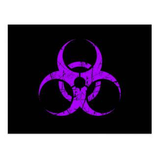 Scratched Purple Biohazard Symbol on Black Postcard
