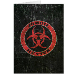 Scratched Red and Black Bio Hazard Zombie Hunter Greeting Cards