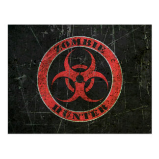 Scratched Red and Black Bio Hazard Zombie Hunter Post Cards