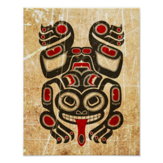 Scratched Red and Black Haida Spirit Tree Frog Poster