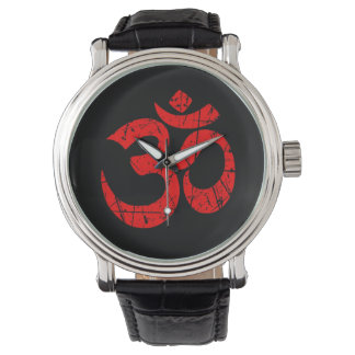 Scratched Red Yoga Om Symbol on Black Wristwatch