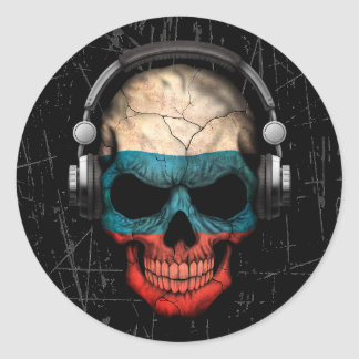 Scratched Russian Dj Skull with Headphones Round Sticker