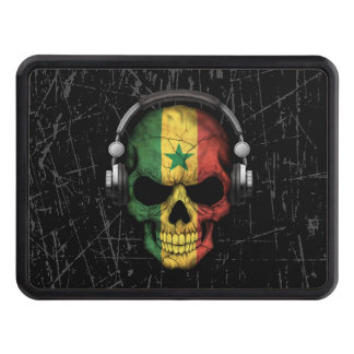 Scratched Senegal Dj Skull with Headphones Tow Hitch Cover