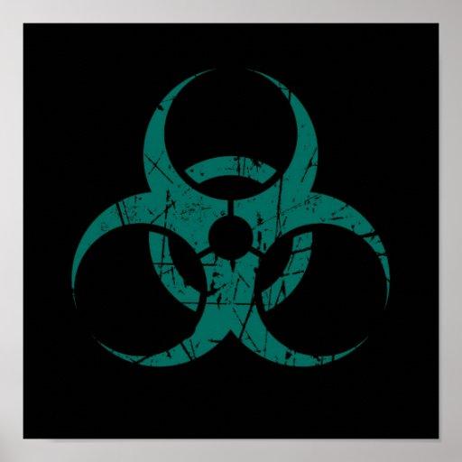 Scratched Teal Blue Biohazard Symbol on Black Poster