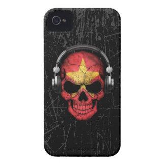 Scratched Vietnamese Dj Skull with Headphones iPhone 4 Case-Mate Cases
