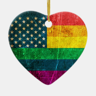 Scratched Vintage Gay Pride American Rainbow Flag Ceramic Heart Ornament