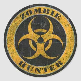 Scratched Yellow Bio Hazard Zombie Hunter Classic Round Sticker