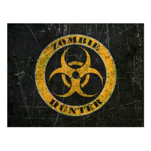 Scratched Yellow Bio Hazard Zombie Hunter Post Cards