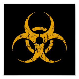 Scratched Yellow Biohazard Symbol on Black Poster