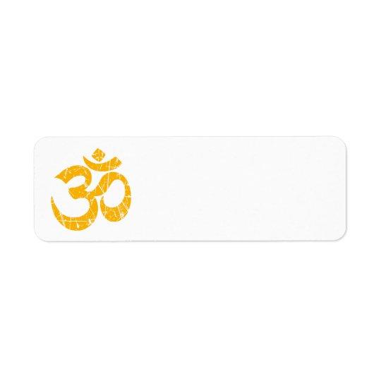 Scratched Yellow Yoga Om Symbol Return Address Label