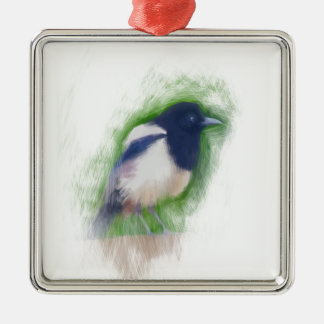 Scratchy Painting of a Scruffy Magpie Metal Ornament