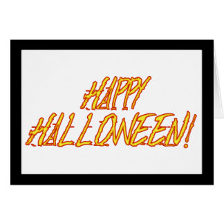 Scratchy Yellow & Red Halloween Text Image Card