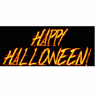 Scratchy Yellow & Red Halloween Text Image Acrylic Cut Out