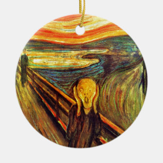 Scream by Munch ~ screaming man w red orange sky Round Ceramic Ornament