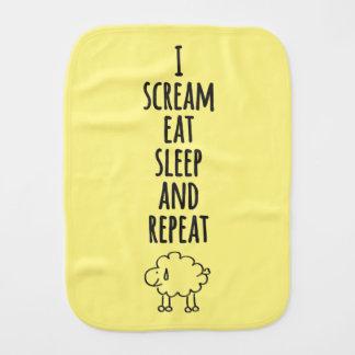 Scream sleep eat burp cloth
