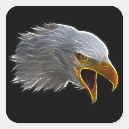 Screaming American Bald Eagle Head Stickers