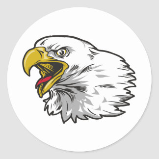 Screaming Bald Eagle Classic Round Sticker