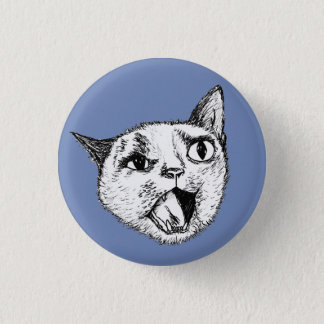 Screaming Cat 1 Inch Round Button