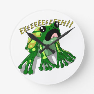 Screaming Frog Doodle Noodle Design Round Clock