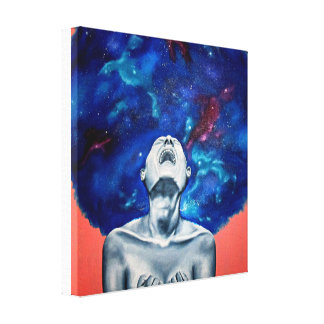 Screaming into the galaxy girl canvas print
