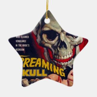 Screaming Skull Ceramic Star Ornament