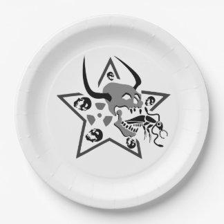 Screaming Skull Pentagram Paper Plate