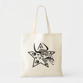 Screaming Skull Pentagram Tote Bag