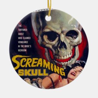Screaming Skull Round Ceramic Ornament