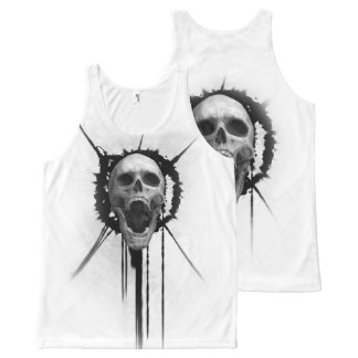 Screaming Skull (White) Tank Top