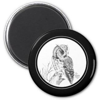 Screech Owl Magnet in pencil