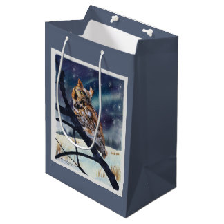 Screech Owl Winter Night Medium Gift Bag