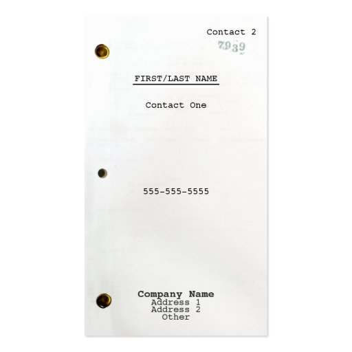 Screenplay Business Card