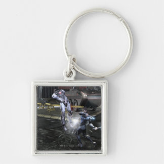 Screenshot: Cyborg vs Nightwing 3 Silver-Colored Square Keychain