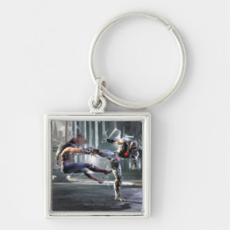 Screenshot: Wonder Woman vs Cyborg Silver-Colored Square Keychain