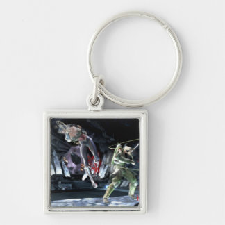 Screenshot: Wonder Woman vs Green Arrow Silver-Colored Square Keychain