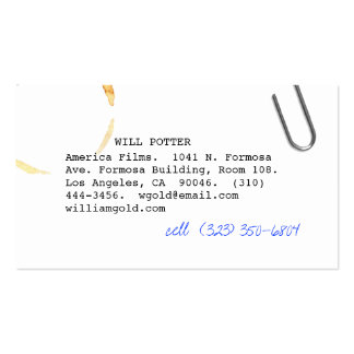 Screenwriter v pack of standard business cards
