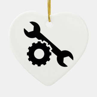 Screw wrench gear ceramic heart ornament