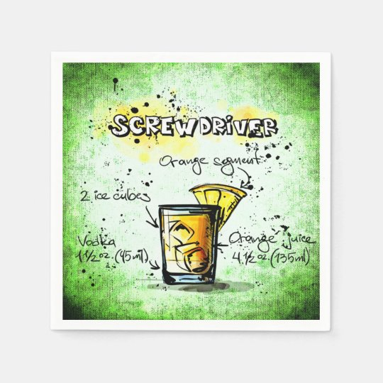 Screwdriver Drink Recipe Paper Napkins