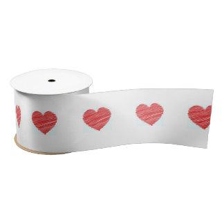 Scribble heart ribbon satin ribbon